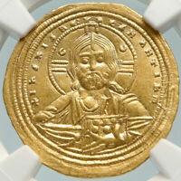 CONSTANTINE VIII 1025AD Gold Ancient Byzantine Coin w JESUS CHRIST NGC AU i84780