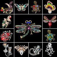 Women Fashion Crystal Rhinestone Butterfly Animal Bouquet Brooch Pin Jewelry New