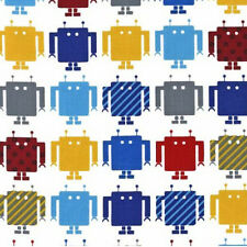 BY YARD-Funbot Robot Boy Cute Fabric Robert Kaufman 13959-204 Primary