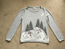 Ladies MONSOON JUMPER Size 12 Grey 65% cotton/27% nylon/8% wool