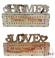 Shabby Chic LED Warm White Light-up Wooden Words Home / Love Decoration sign
