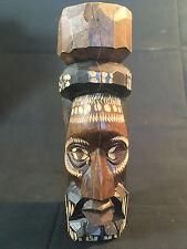 "Jamaica Ocho Rios Wood Carved Totem Pole Man's Face Statue Figure 6 3/4"" Tall"