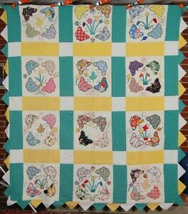 FOLKY Vintage 30's Butterfly Applique Antique Quilt ~Star, Moon, & Flowers!