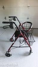 NEW Guardian 4 Wheel Rolling Walker w/ 2 Shopping Baskets, Padded Seat Burgundy