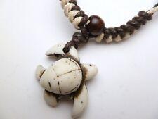 Buffalo Bone White Turtle Pendant Adjustable Cord Necklace #30192-26 ( QTY 2 )