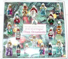 VINTAGE CHRISTMAS 18 OLD WORLD DESIGNED SATIN FINISH BLOWN GLASS ORNAMENTS NIB