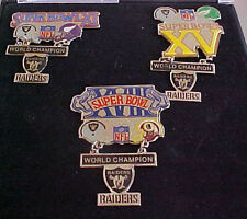 SET OF 3 OAKLAND RAIDERS SUPER BOWL CHAMPS HANGING CHAMPS PINS