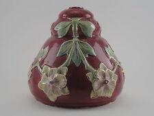Ancienne Suspension Lustre Lampe Faïence Barbotine Rouge ART DECO Motif Fleurs