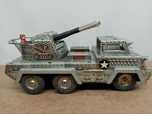 Vintage 1960s Tin Friction Anti Aircraft Military Truck SANKEI Toys Japan