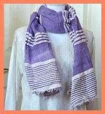 Ethiopian Cotton Purple Color Stole, Wrap with White Woven Stripes From Ethiopia