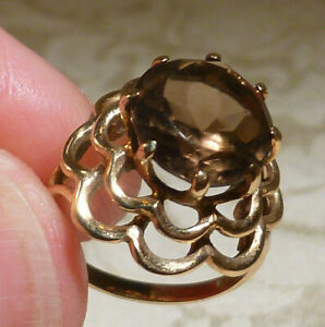 Vintage 9ct Gold Smokey Quartz Ring UK Hallmark London 1976 Hans Herman Gift Box