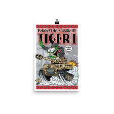 German WW2 Tiger Tank Poster - Rat Fink Hot Rod Style - Dave Gink Design