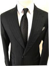 Black pinstripe super 120 wool suit/ticket pocket/wide peak lapel-made in Italy