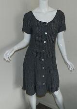 NEW Women Vintage Laundry By Shelli Segal Short sleeve Black White Tea Dress 10