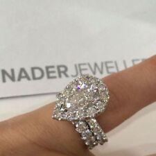 4.30Ct White Pear Cut Diamond 14k White Gold Finish Engagement Wedding Ring Set