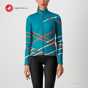 NEW 2021 Castelli DIAGONAL Womens Long Sleeve Jersey : TEAL/BRILLIANT PINK