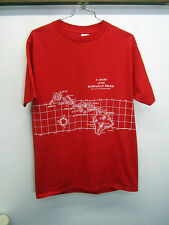 vtg Hawaiian Islands Chart Map Miller T-Shirt red 100% cotton sz XL USA made EUC