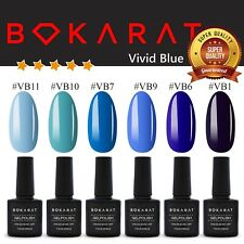Gel Nail Polish Soak Off UV LED Vivid Blue Series 6 Bottles x 7.3ml Set Bokarat