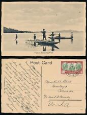 NEW CALEDONIA 1939 PPC of FIJI SPEAR FISHING to USA