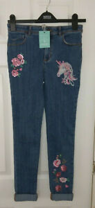 Monsoon Girls Sequin unicorn jeans ,blue age 11 years /146 cm ,stretch