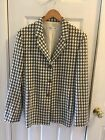 Bernard Zins Women's Blazer Jacket Plaid Black gray and White Wool lined sz.8