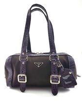 Prada Purple Canvas and Crocodile Leather Satchel handbag