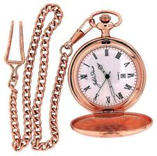 Jakob Strauss Rose Gold Tone Antique Style Gents Date Pocket Watch Chain JAST08