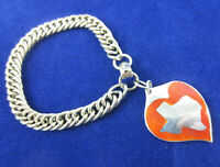 Vintage Modernist John SZYMAK Sterling 925 Red Enamel Heart Texas Charm Bracelet