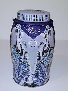 Williamson Tea tin, Elephant tin canister, empty,blue rare,great condition