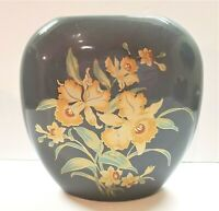 Vintage Grey Ceramic Vase with Peach Flowers & Teal Leaves Gold Shaddy Japan