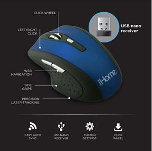 IHome Precision Wireless Desktop Mouse Auto Sync USB Click Wheel Battery Include