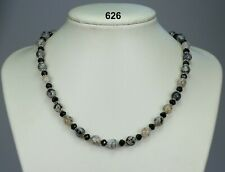 Black dragons vein agate 8mm bead necklace, black glass crystals, silver spacer
