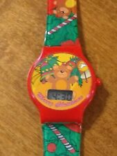 Vintage 1970's Merry Christmas Teddy Bear LCD watch, running w/new battery I