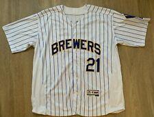 Majestic Milwaukee Brewers MLB Baseball Shirt Jersey - Travis Shaw #21 size 44 L