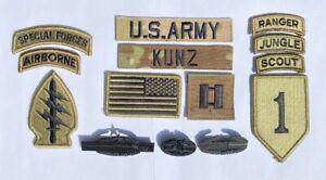 14 US ARMY patch Set Ocp Special Forces Cibb Scout Ranger Konvolut Captain Kunz