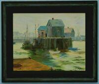 "M.JANE DOYLE SIGNED ORIG. ART OIL/CANVAS PAINTING ""LIFTING FOG"" (LOBSTER HARBOR)"