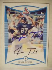 JESS TODD signed CARDINALS 2008 Bowman Draft baseball card AUTO ARKANSAS INDIANS
