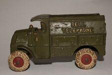 1930's Hubley Cast Iron Bell Telephone Truck, Nice Original