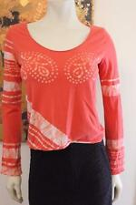 Diesel Brand Coral Long Sleeve Cotton Dyed Tee With Number 63 on Back Tropical S