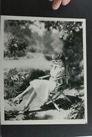 "Claudette Colbert Sitting in Garden - 8x10"" Photo Print -Vintage L1319H"