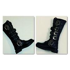 Demonia BOLT-450 unisex Black Leather  20 Eyelet Knee Combat Boots size 7