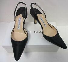 b7728c8b823b6 Manolo Blahnik 'Carolyne' black satin pointed toe slingback pumps sz ...