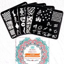 BORN PRETTY Lot de 5 Plaques Stamping Pochoirs Carrés Nail Art 6*6cm BP-X06~X10