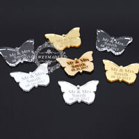 Personalised Engraved Mr & Mrs Butterfly Wedding Table Centerpieces Decor Favour