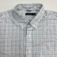 Nautica Button Up Shirt Men's 2XL XXL Short Sleeve White Checkered Casual Cotton