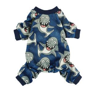 Fitwarm Fleece Shark Dog Winter Clothes Pajamas Thermal Pet Jumpsuit Coat M XXL