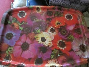 FLORAL SANDWICH TEA TRAY AFTERNOON TEA RETRO VINTAGE RED FLOWERS