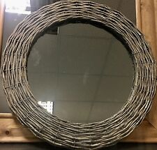 Rustic Vintage Retro Wicker Weave Round Wall Mirror NEW Hall Lounge Shabby Chic