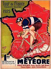 1925 Tour de France Bicycle Race Paris France Vintage Travel Art Poster Print