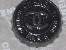 CHANEL AUTH. 1 CC LOGO FRONT BLACK SILVER  BUTTON   24 MM  /  OVER 1'' NEW